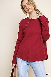 BUTTON TRIM SOLID COTTON TOP