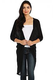 SOLID SLUB KNIT DRAPED CARDIGAN