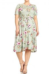 PLUS FLORAL TRAPEZE JERSEY DRESS