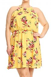 PLUS FLORAL GATHERED WAIST HALTER DRESS