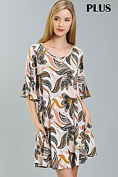PLUS ABSTRACT FLORAL FLARING DRESS