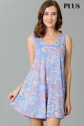 PLUS PAISLEY FLARING TANK DRESS