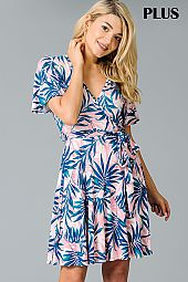 PLUS LEAF PRINT WRAP BODICE DRESS
