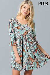 PAISLEY PRINT BABY DOLL DRESS