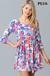 MULTI COLOR FLORAL PRINT BELL SLEEVE DRESS