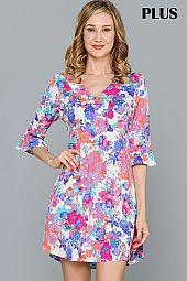 PLUS PASTEL FLORAL PRINT V NECK DRESS