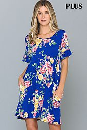 PLUS RUFFLE SLEEVES HEM FLORAL DRESS