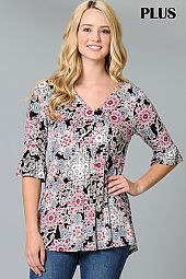 PLUS GEO MEDALLION PRINT PLEATED JERSEY TOP