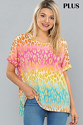 COLORFUL ANIMAL PRINT SHORT SLEEVE TOP