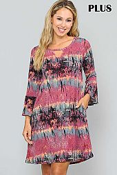 PLUS PRINT CUT OUT FRONT RUFFLE SLEEVE DRESS