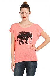 FLORAL ELEPHANT PRINT BURNOUT TOP