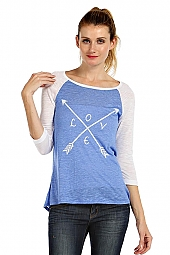 ARROW DIRECTION PRINT RAGLAN SLEEVE KNIT TOP