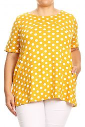 PLUS POLKA DOT PRINT TOP