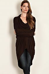 SOLID JERSEY KNIT COWL NECK TUNIC