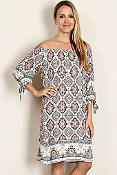 MEDALLION BORDER PRINT DRESS