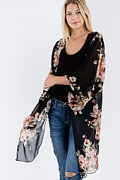 FLORAL PRINT SHEER OPEN CARDIGAN