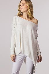 BOAT NECK DOUBLE KNIT PONCHO TOP