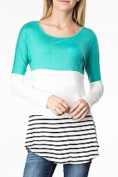 LACE PANEL BACK COLOR BLOCK TOP