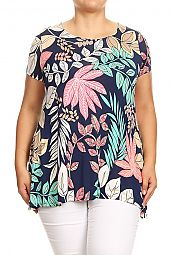 PLUS LEAF PRINT FLARING TOP