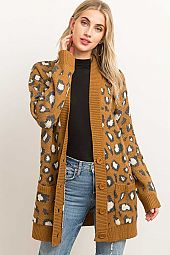 *PRE-ORDER* BUTTON CLOSURE LEOPARD PATTERN CARDIGAN