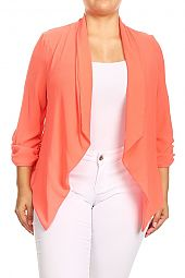 PLUS RUCHED SLEEVES HEM BLAZER