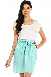 POLKA DOT PRINT POCKET COMBO DRESS