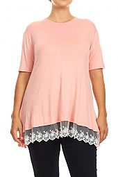 PLUS LACE HEM SOLID JERSEY TOP