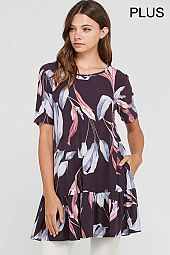 PLUS RUFFLE HEM LEAF PRINT TRAPEZE TOP