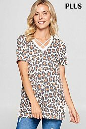 PLUS CRISSCROSS STRAP DETAIL LEOPARD TOP
