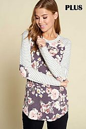 STRIPE AND FLORAL PRINT ROUND NECK TOP