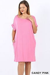 PLUS CUFFED SLEEVES SOLID DRESS