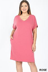 PLUS CUFFED SLEEVES V NECK DRESS