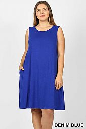 PLUS SOLID SLEEVELESS FLARED DRESS