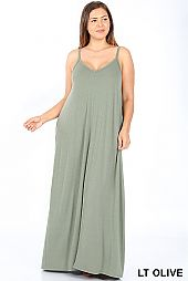 SOLID CAMISOLE KNIT MAXI DRESS