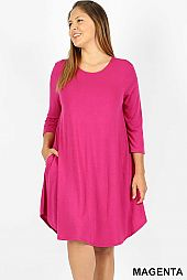 PLUS SOLID ROUND NECK DRESS