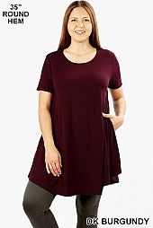 SHORT SLEEVE ROUND HEM FLARED TOP
