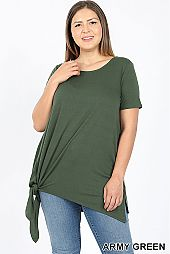 PLUS SIDE TIE ROUND NECK SOLID TOP