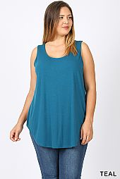 SOLID ROUND NECK SLEEVELESS TOP