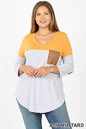 PLUS COLOR BLOCK V NECK CASUAL TOP