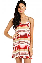 STRIPE PRINT V-NECK CAMI DRESS