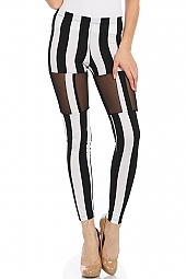 MESH PANEL STRIPE PRINT LEGGINGS