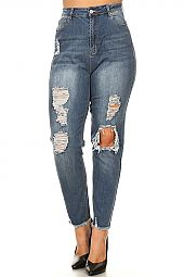PLUS DISTRESSED DENIM