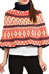 AZTEC TURTLENECK CAPE TOP