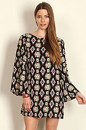 IKAT DIAMOND PRINT BELL SLEEVE DRESS