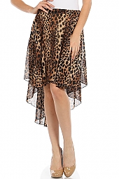 LEOPARD PRINT HIGH-LOW CHIFFON SKIRT