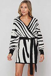 *PRE-ORDER* ZEBRA PRINT N NECK SWEATER WRAP DRESS