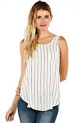 STRIPE PRINT CIRCLE HEM TANK TOP