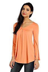 SOLID KNIT PLEATED V-NECK TOP
