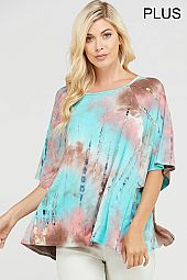 PLUS TIE DYE PRINT TOP