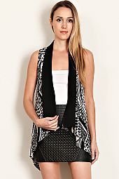 MULTI PRINT SOLID TRIM OPEN VEST
